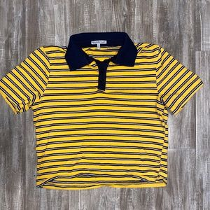 Yellow and blue polo crop top